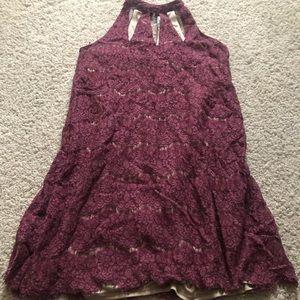 Burgundy halter strap dress